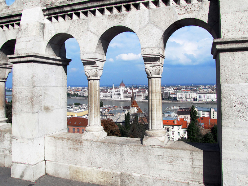 38-Parliament from Fisherman's Bastion, Buda. Built early 1900s to capture and frame views of Pest and Parliament Building across the danube.
