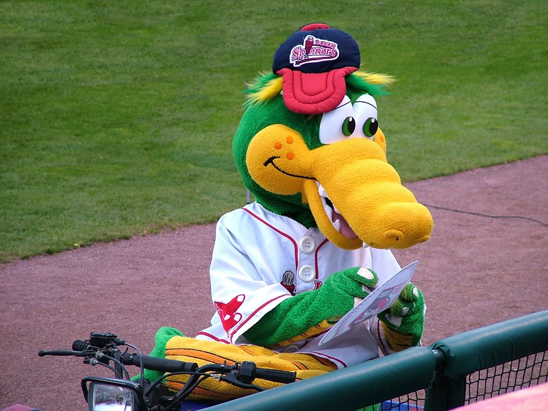 Lowell Spinner's mascot - Canaligator