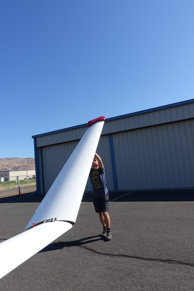 Ethan unfolding a wing.