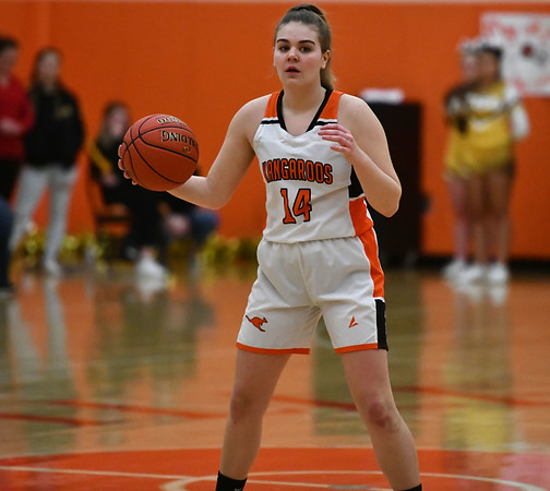 2/14/2020 Mike Orazzi | StaffrTerryville High School's Taylor Barnett (14) during Friday evening's girls basketball game with Thomaston in Terryville. r