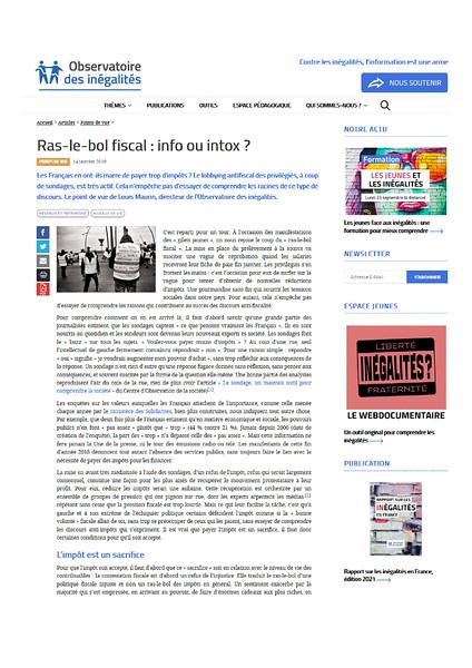 Observatoire des inégalités, janvier 2019.