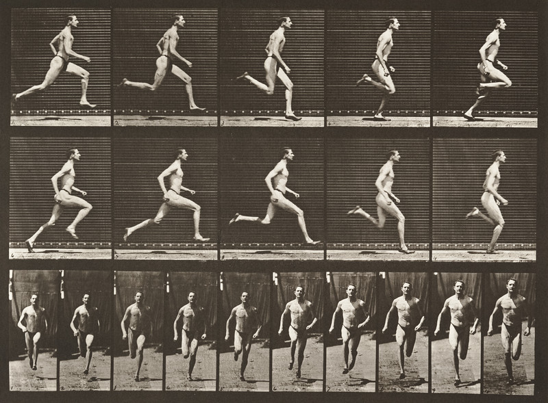 Man in pelvis cloth running at a half-mile gait (Animal Locomotion, 1887, plate 60)