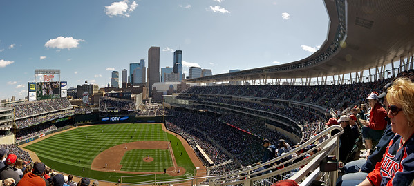 Second Twins-Cardinals exhibition game at Target Field - 4-image 12mm lens pano