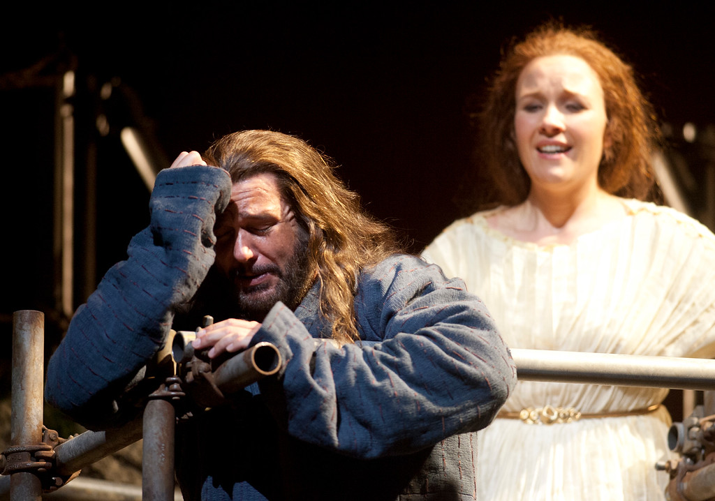 ". Mary Magdalene (Sasha Cooke), right, tries to comfort Yeshua (Nathan Gunn) after they learn of the execution of John the Baptist, in a scene from San Francisco Opera\'s world premiere of Mark Adamo\'s ""The Gospel of Mary Magdalene,\"" Sunday, June 16, 2013 at the War Memorial Opera House in San Francisco. (D. Ross Cameron/Bay Area News Group)"