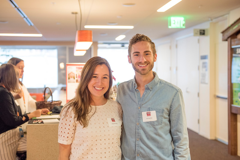 Cheyenne King (left) and Ian Twamley (right) enjoy Chico State's Alumni Day at Salesforce West on Thursday, May 10, 2018 in San Francisco, Calif. (Jessica Bartlett /University Photographer/CSU Chico)