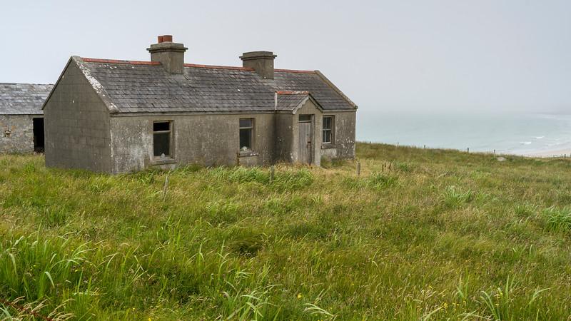 Abandoned building along coastline, Mullet Peninsula, Binghamstown, Erris, County Mayo, Ireland