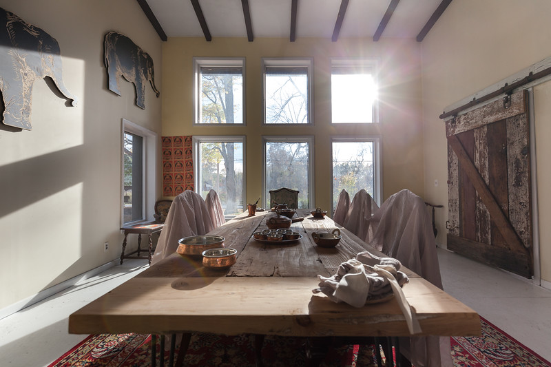 Nirmala Narine's Hudson Valley farm in New Paltz, NY. Nirmala also operates a retail store on her property, Nirmala's Kitchen. Nirmala demonstrating how her lavender is harvested on her farm. Her diningroom.