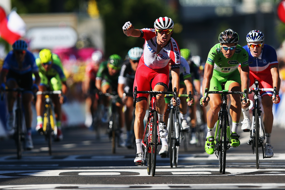 . Alexander Kristoff of Norway and Team Katusha celebrates winning stage twelve of the 2014 Tour de France, a 186km stage between Bourg-en-Bresse and Saint-Etienne, on July 17, 2014 in Saint-Etienne, France.  (Photo by Bryn Lennon/Getty Images)