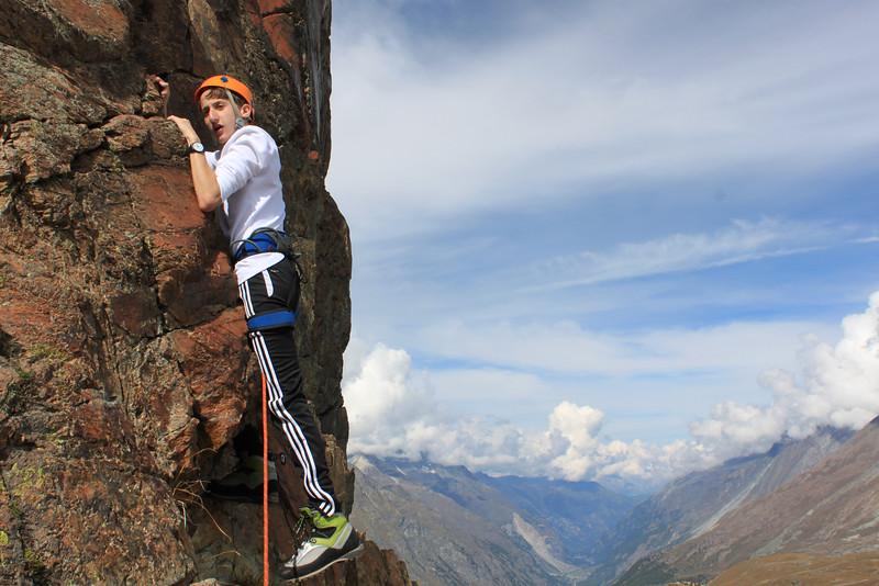 Gabe taking a break on his way up Riffelhorn