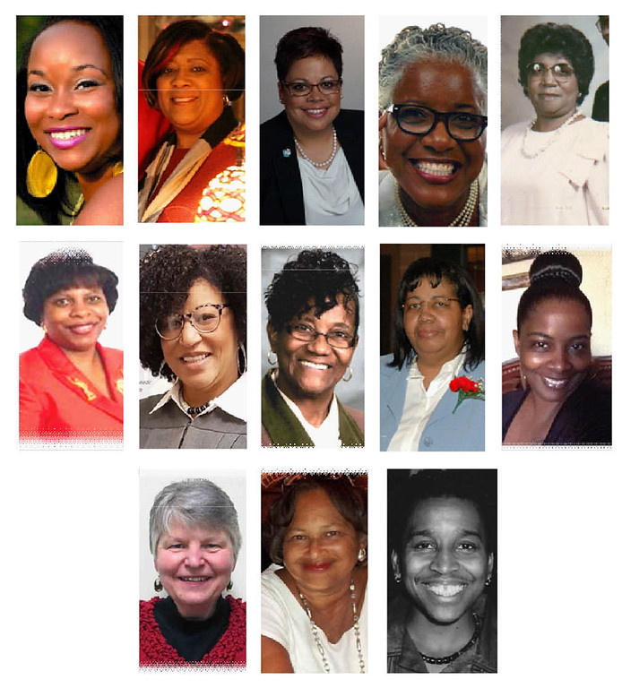 . Theresa (Davis) Randleman, top left,  Paulette D. Barnes, Terri M. Soto, Rev. Marilyn Parker-Jeffries , Martha Pye, Dr. LaTaunya V. Conley, middle left, Charlita Anderson White, Loretta �Mrs. J.� Jones, Katie Rowser, Tracey Payton-Johnson, Barb Piscopo, bottom left, Jeanine P. Donaldson and Tracie L. Haynes. Not pictured: Carolyn Y. White