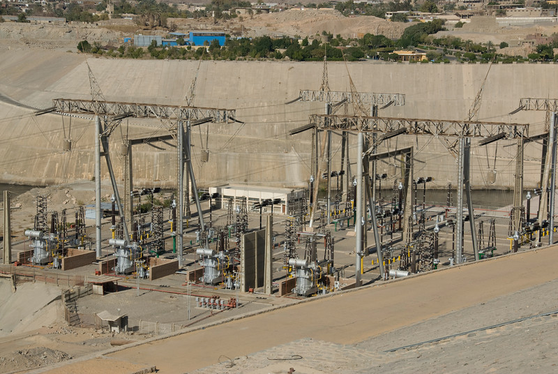 Overhead shot of the electrical infrastructure near Aswan Dam, Egypt