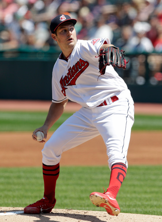 . Cleveland Indians starting pitcher Trevor Bauer delivers in the first inning of a baseball game against the Pittsburgh Pirates, Wednesday, July 25, 2018, in Cleveland. (AP Photo/Tony Dejak)