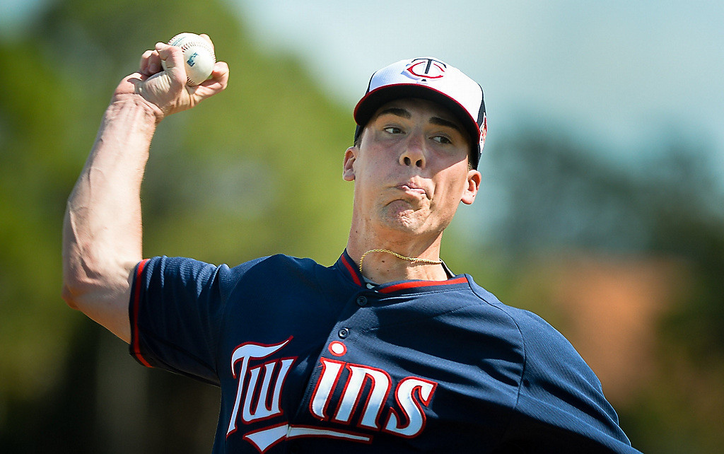 . Twins pitcher Alex Meyer throws a off-speed pitch during live batting practice. (Pioneer Press: Ben Garvin)