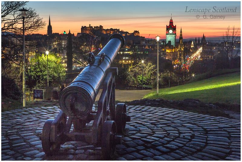 Edinburgh Castle and central Edinburgh from Calton Hill at dusk (05)