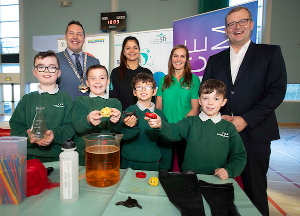 15/11/2019Calmast science week with 'Glorious Blood' with London Science Museum at The Watershed, Kilkenny. From left; pupils from CBS  Carrick On Suir Jack Kiely, Jason Hartery, Leon Keyes, Evan O'Dwyer and Kilkenny cathaoirleach Peter 'Chap' Cleere Anais Radiere Science museum, Dr Cordula Weiss Clamast WIT and Minister John Paul Phelan. Photo;Mary Browne.