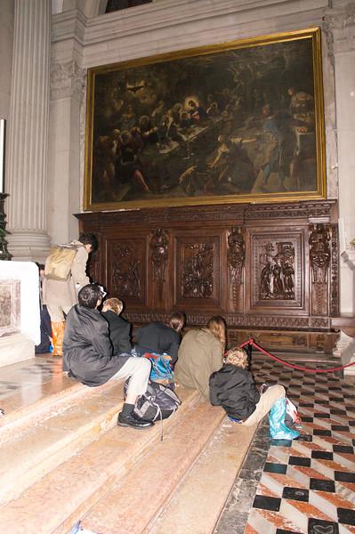 Students studying Tintoretto's LAST SUPPER in San Giorgio Maggiore