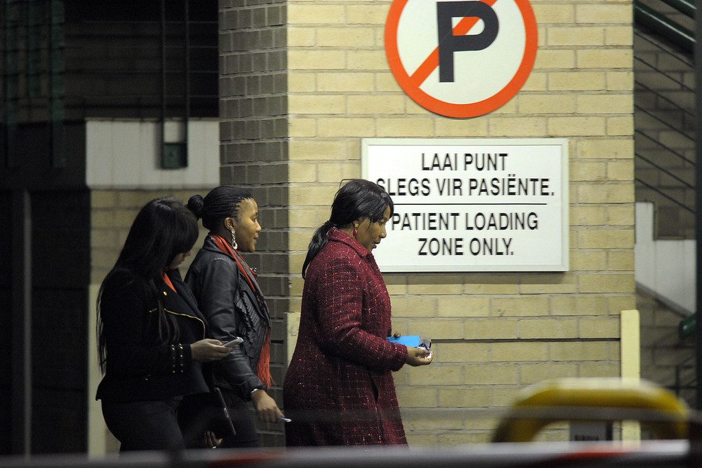 . Makaziwe Mandela (R), the daughter of former South African President Nelson Mandela, arrives with Ndileka Mandela (L) and Tukwini Mandela, the granddaughters, at the Mediclinic heart hospital in Johannesburg on June 25, 2013. A statement issued by the South African government reported that Mandela\'s health was in a critical stage after his condition in hospital worsened over the course of 24 hours. ALEXANDER JOE/AFP/Getty Images
