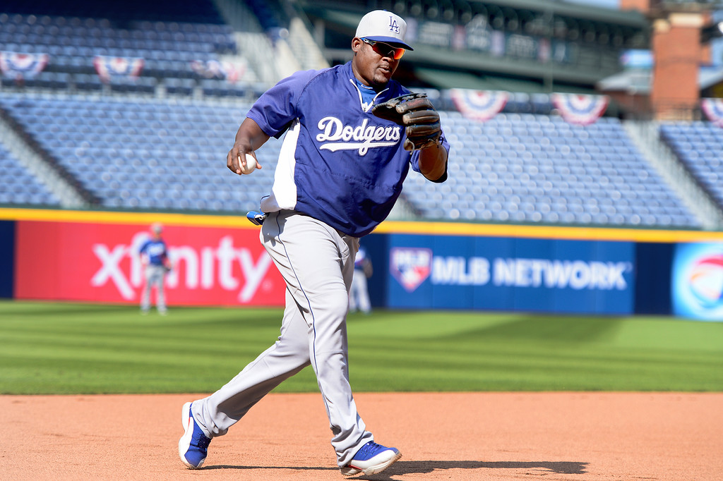 . Los Angeles\' Dodgers\' Juan Uribe works out Wednesday, October 2, 2013 as they get ready for the first playoff game against the Atlanta Braves Thursday at Turner Field in Atlanta, Georgia. (Photo by Sarah Reingewirtz/Pasadena Star- News)