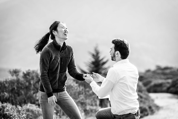 Chris Proposes to Cecilia at Sweeney Ridge Trail in Pacifica