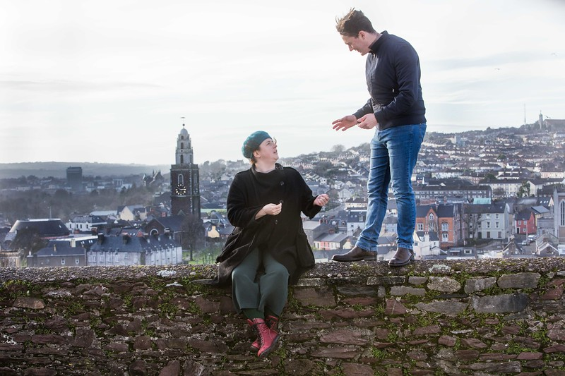 Actors Shane Casey and Siobhán McSweeney exploring the north side of Cork, the backdrop for Kevin Barry's new play Autumn Royal  Pic Darragh Kane
