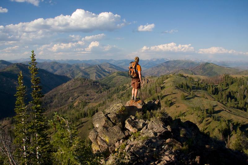 July 22 - Matt Leidecker looks over the top of Warfield Creek