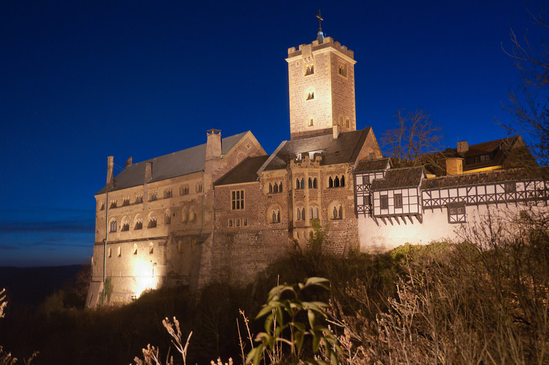 Shot of the Wartburg at night in Eisenach, Germany