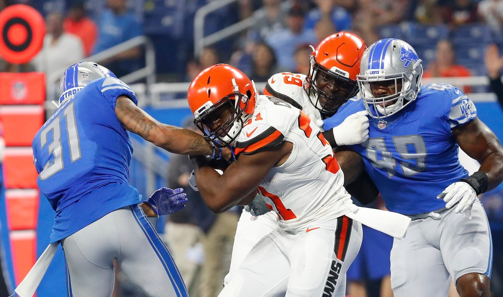 . Cleveland Browns running back Nick Chubb (31) rushes for a 3-yard touchdown during the first half of an NFL football preseason game against the Detroit Lions, Thursday, Aug. 30, 2018, in Detroit. (AP Photo/Rick Osentoski)