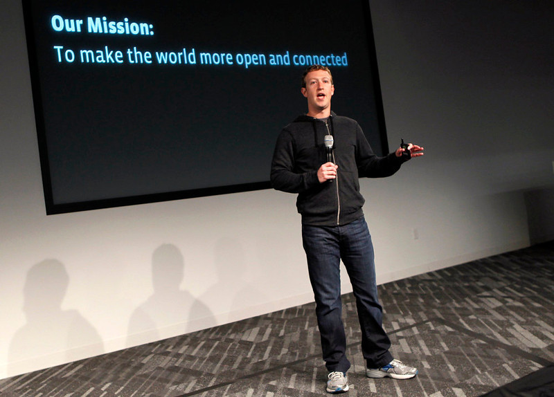 . Facebook CEO Mark Zuckerberg gestures while addressing the audience during a media event at Facebook headquarters in Menlo Park, California on March 7, 2013. REUTERS/Robert Galbraith