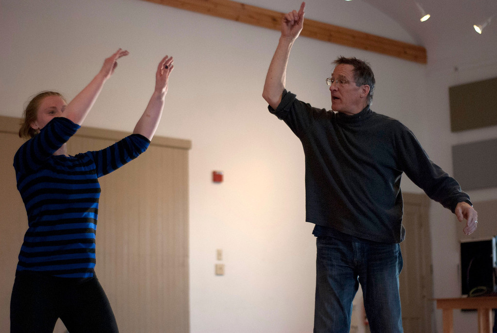 . Kayla Rice/Reformer                                 IBIT (Intrinsic Beauty of Invisible Things) instructor Donlin Foreman gives dancer Genevieve Amarante help during a rehearsal in Brattleboro on Tuesday afternoon.