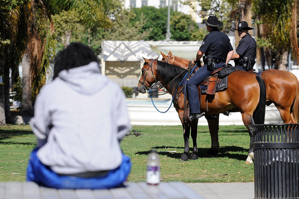 . Police on horseback stand by in Leimert Park. Crowds gather to protest while a heavy presence of Los Angeles Police Officers patrols the area around Leimert Park at the intersection of, Crenshaw Boulevard and Vernon in Los Angeles, CA. 7/16/2013(John McCoy/LA Daily News)