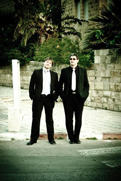 Men in black: Sasha Nepomniashchy and David Rabkin