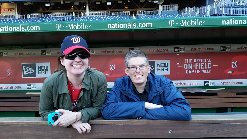 Jenni and Joseph in the Nationals dugout