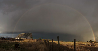 Rainbow Over The Old Barn