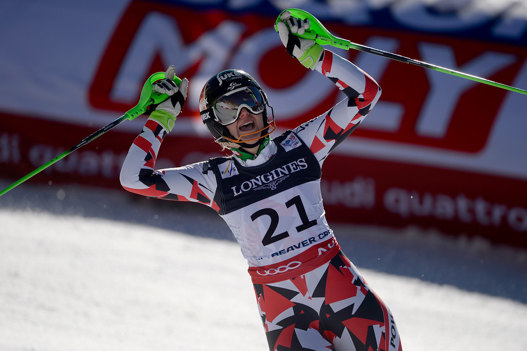 . BEAVER CREEK, CO - FEBRUARY 09: Nicole Hosp of Austria competes during the ladies\' alpine combined final. FIS Alpine World Ski Championships 2015 on Monday, February 9, 2015. (Photo by AAron Ontiveroz/The Denver Post)