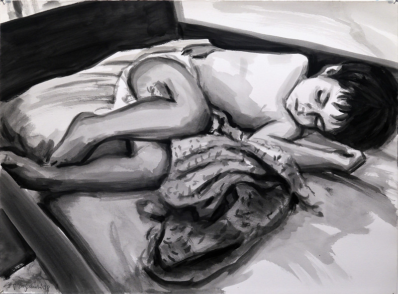 Sleeping child (John), acrylic wash on paper, 22 x 30 in, 1990