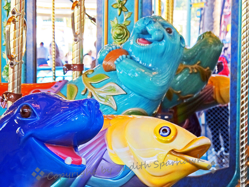Carousel Fun ~ This image shows three of the underwater creatures that made up the animals on this carousel at California Adventure at Disneyland in California.