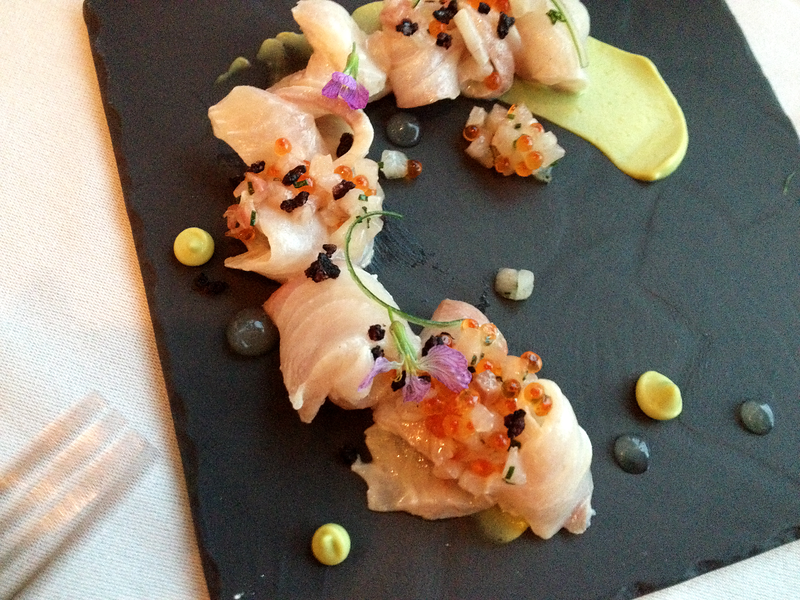 Pacific Amberjack, Lightly Marinated in Yuzu & Olive Oil with Spring Onion, Trout Roe, and Avocado