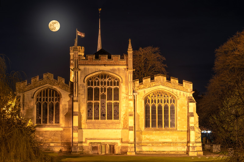 Moonlight over St Mary's Church, Hitchin, Hertfordshire