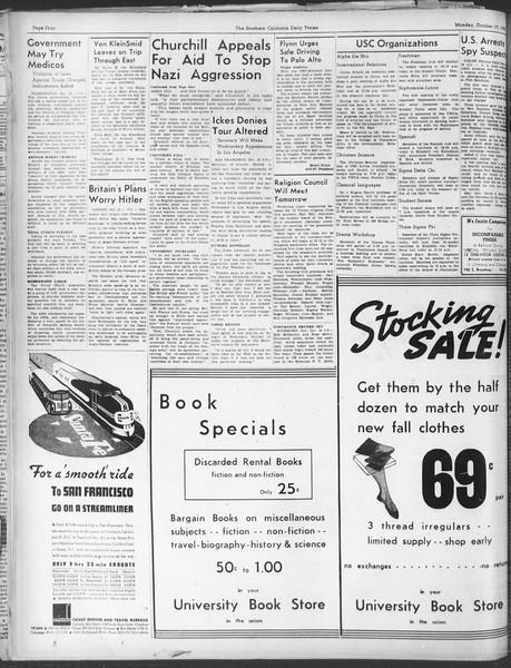 Daily Trojan, Vol. 30, No. 22, October 17, 1938