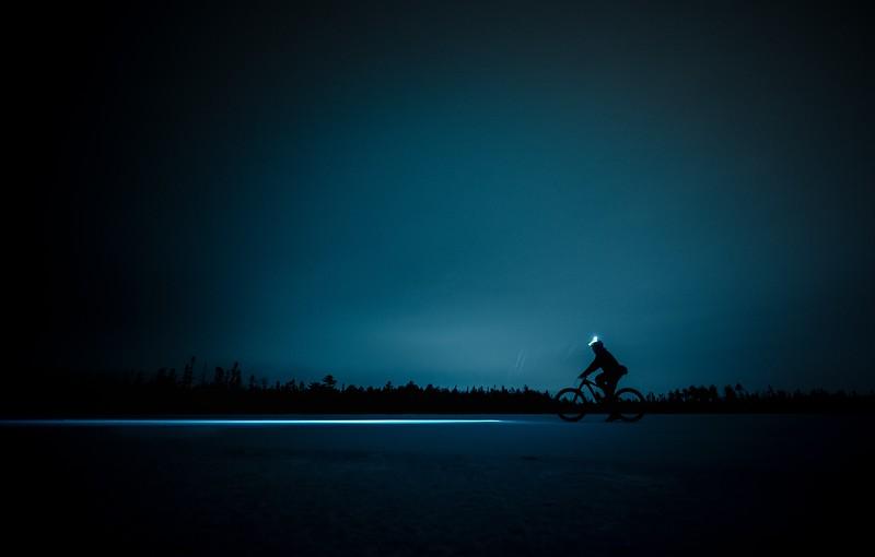 Biking with a headlamp at night
