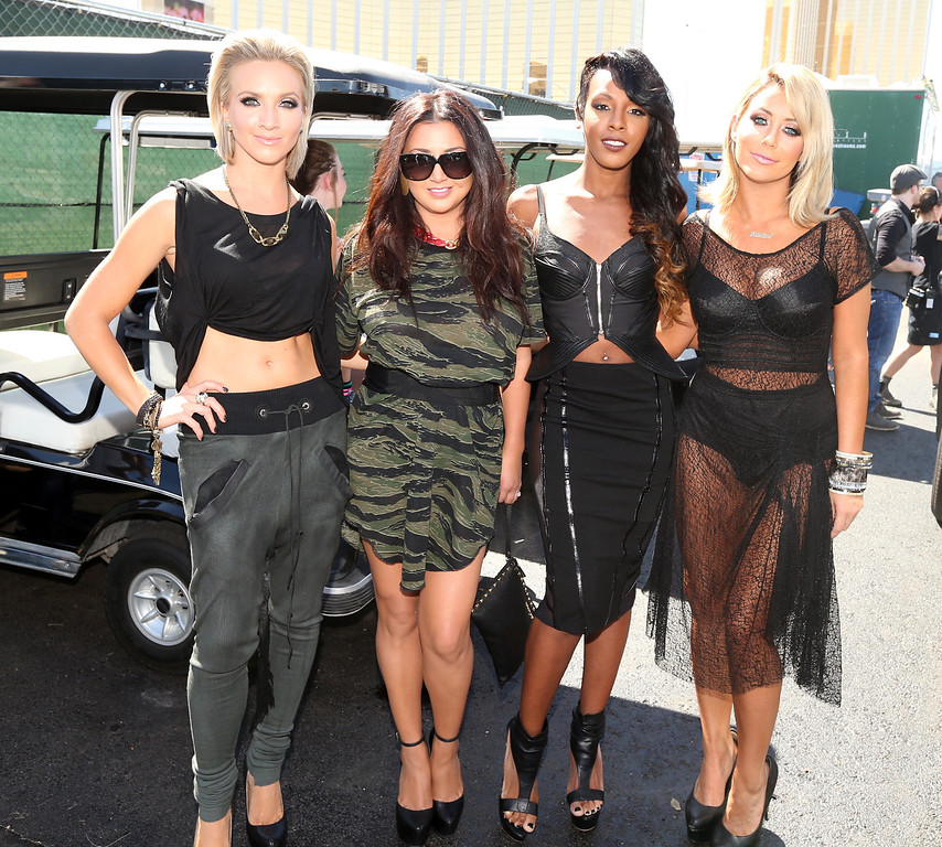 . (L-R) Shannon Bex, Andrea Fimbres, Dawn Richards and Aubrey O\'Day of Danity Kane attends the iHeart Radio Music Festival Village on September 21, 2013 in Las Vegas, Nevada.  (Photo by Christopher Polk/Getty Images for Clear Channel)