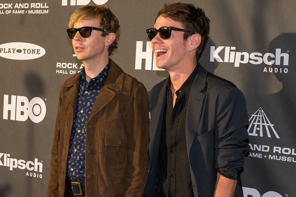 . Beck, left, and Nate Ruess on the red carpet prior to the 2015 Rock And Roll Hall Of Fame Induction Ceremony at Public Hall on Saturday, April 18, 2015, in Cleveland, Ohio. (Photo by Jason Miller/Invision/AP)