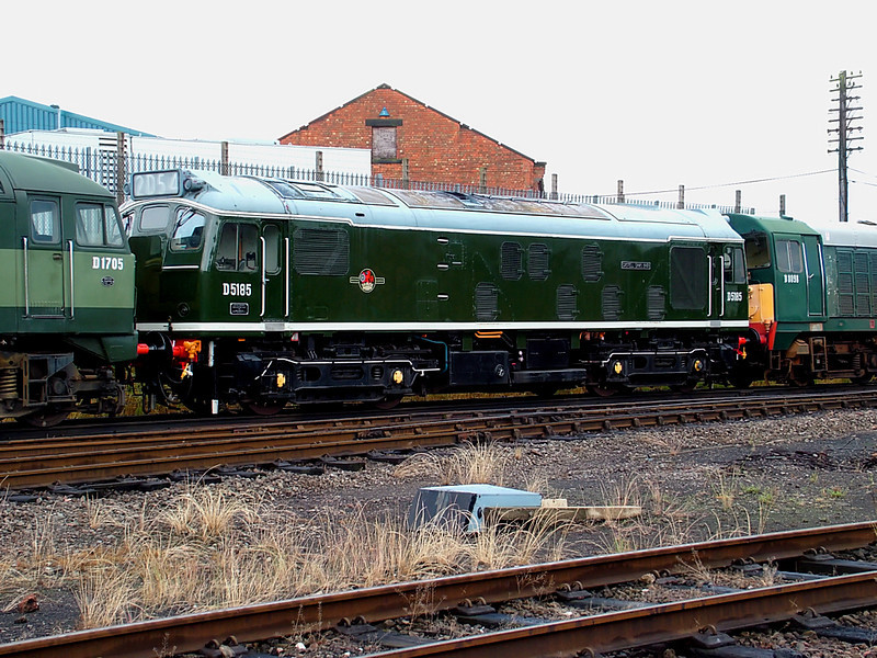 D5185 sits in a line of sister locos at Loughborough Central on the 16th June 2007