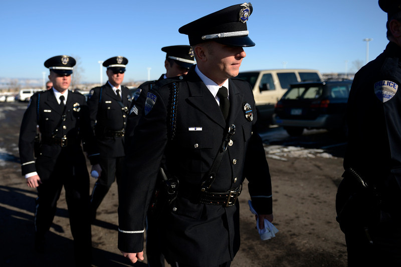 . Fort COllins officers arrive at the public memorial service for Tom Clements at the New Life Church in Colorado Springs. March 25, 2013 Colorado Springs, Colorado. (Photo By Joe Amon/The Denver Post)