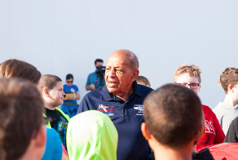 Dr. Harold Brown and students at the Liberty Aviation Museum in Port Clinton Ohio.