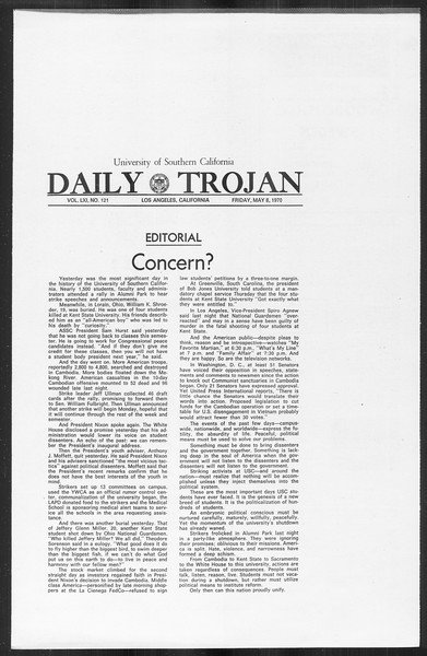 Daily Trojan, Vol. 61, No. 121, May 08, 1970