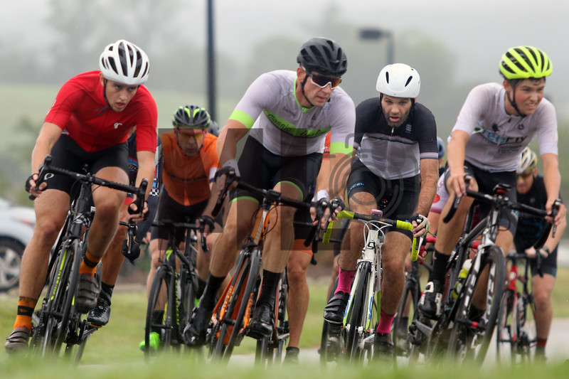 Cyclists race in the MAC Racing Series event at the Rock Hill Criterium Course in Rock Hill, South Carolina, on Saturday, Aug. 24, 2019.