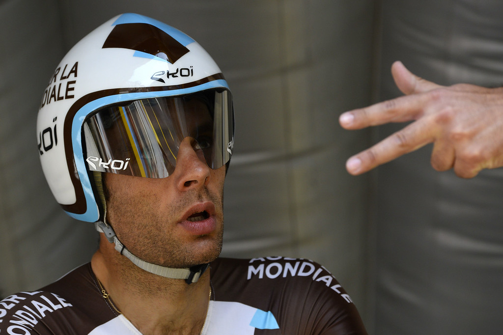. France\'s Jean-Christophe Peraud concentrates before taking the start of the twentieth stage, a 54 km individual time trial, as part of the 101st edition of the Tour de France cycling race on July 26, 2014 between Bergerac and Perigueux, western France.  AFP PHOTO / LIONEL  BONAVENTURE/AFP/Getty Images