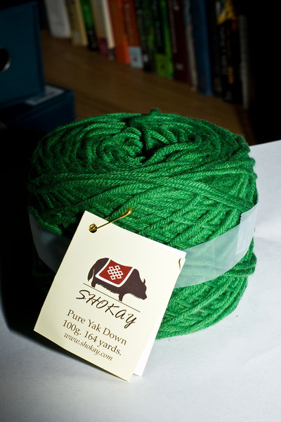 Another view of the green Shokay Yak Yarn
