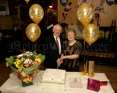Pictured at a surprise Golden  Wedding Anniversary Function on Easter Monday in Garrickcruppin GAC, Mr & Mrs Francis and Eileen Monaghan,(nee Mc Cartan) who were married on Easter Monday 11th April 1955 in St Peter and St Paul,s fChurch Bessbrook 05W13N16